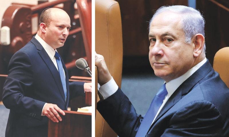 Naftali Bennett (left) and Benjamin Netanyahu