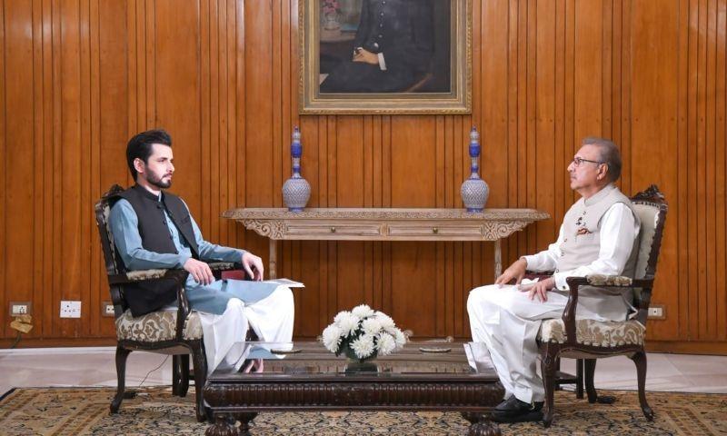 President Dr Arif Alvi in an interview with  Adil Shahzeb. — DawnNewsTV