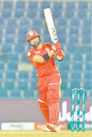ABU DHABI: Islamabad United's Iftikhar Ahmed goes for a big hit against Karachi Kings during their HBL Pakistan Super League fixture at the Sheikh Zayed Stadium on Monday night. —Courtesy PCB