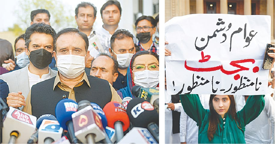 LAHORE: Punjab Chief Minister Usman Buzdar talking to reporters outside the Punjab Assembly after the budget session on Monday. (Right) PML-N MPA Hina Butt holds a placard on the assembly premises against the budget.—Murtaza Ali / White Star