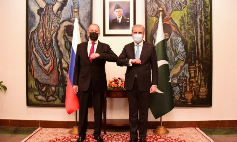 This file photo shows Foreign Minister Shah Mahmood Qureshi (right) and Russian Foreign Minister Sergey Lavrov at the Foreign Office. — Photo courtesy Foreign Office