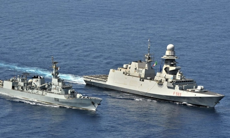 Pakistan Navy ship Saif has conducted Passage Exercise (Passex) with Italian Navy ship ITS Carabiniere in the Gulf of Aden. — Photo courtesy Radio Pakistan