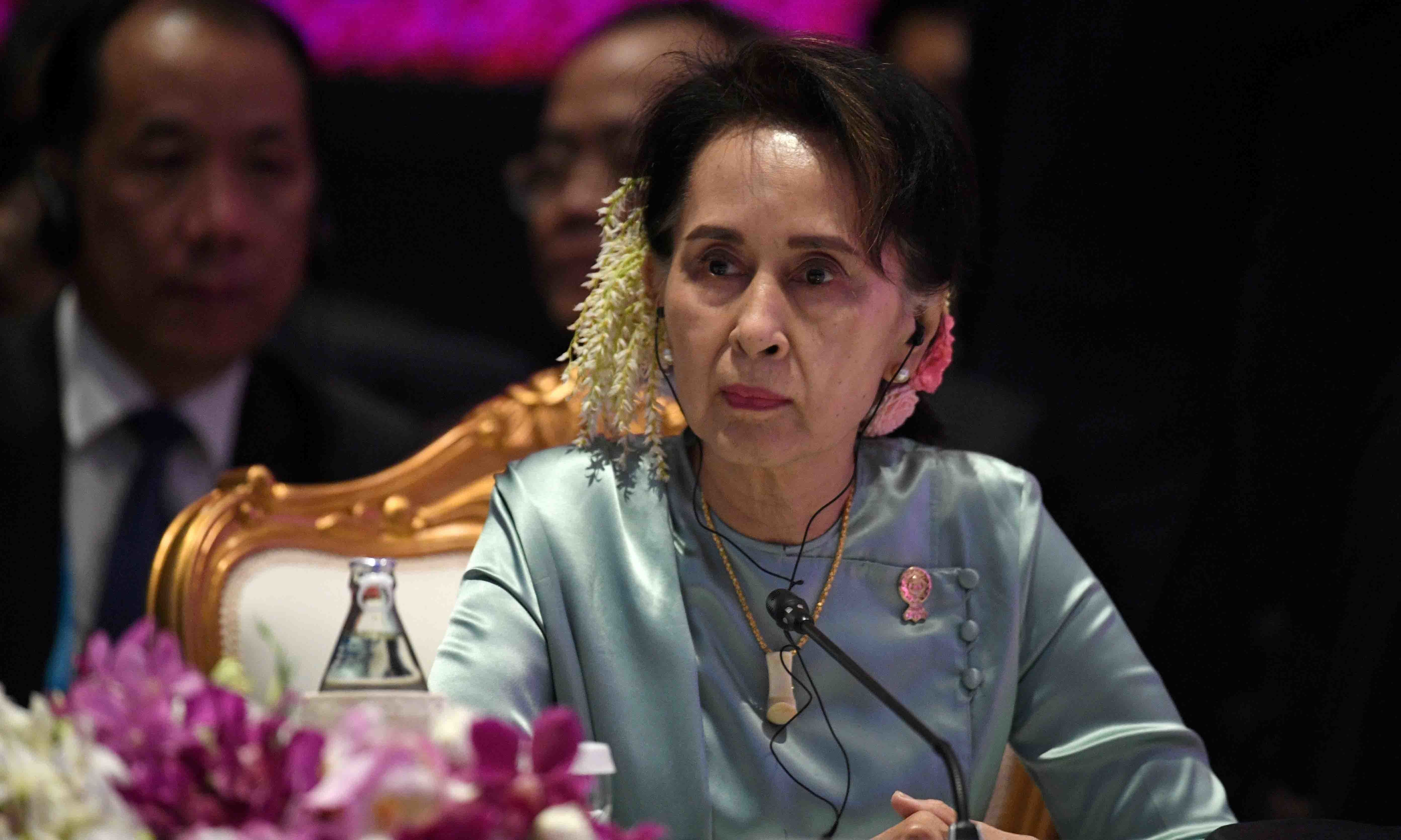 State Counsellor of Myanmar Aung San Suu Kyi attends the 22nd ASEAN Plus Three Summit in Bangkok in 2019. — Reuters