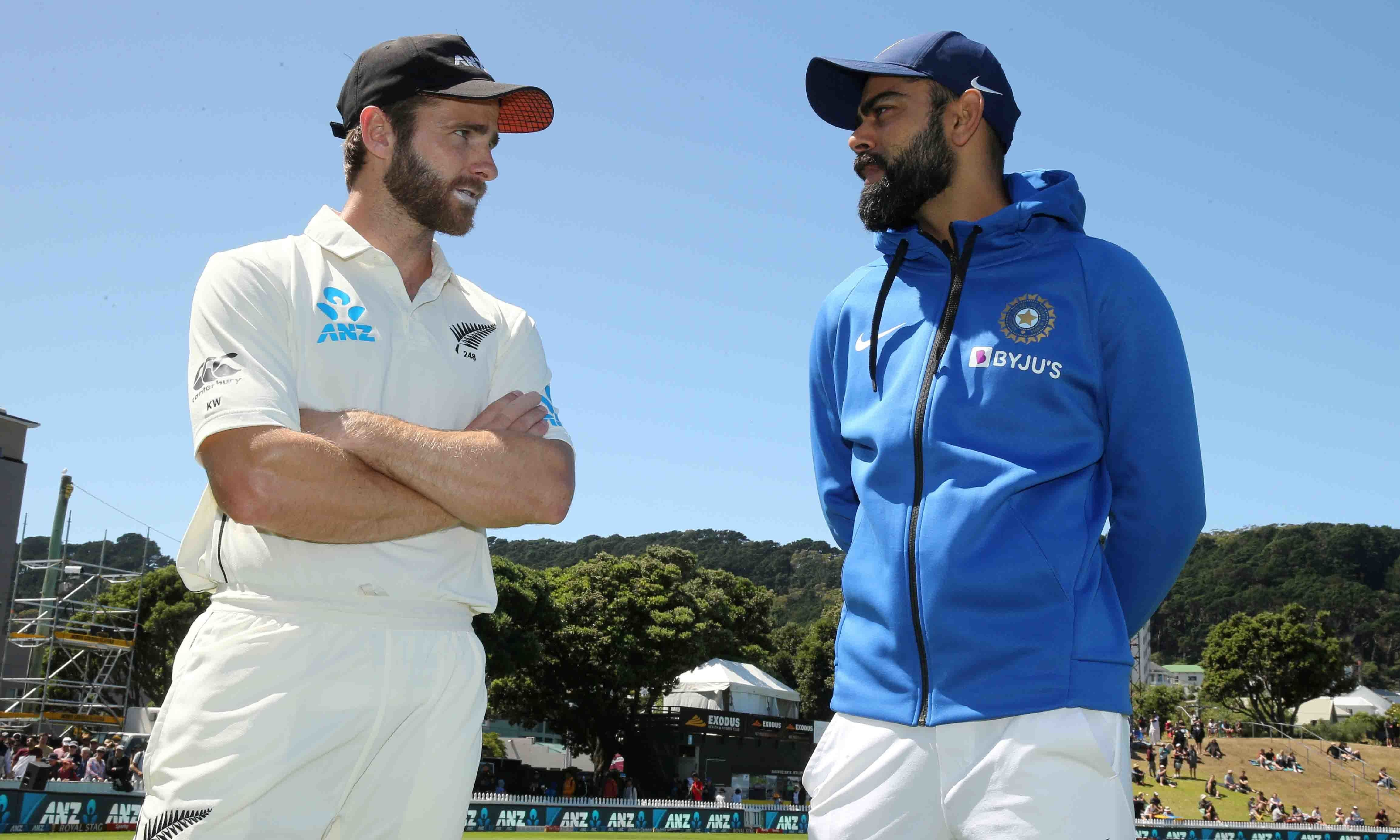 New Zealand's Kane Williamson talks to India's Virat Kohli after New Zealand beat India in a test match at Basin Reserve on February 24. — Reuters
