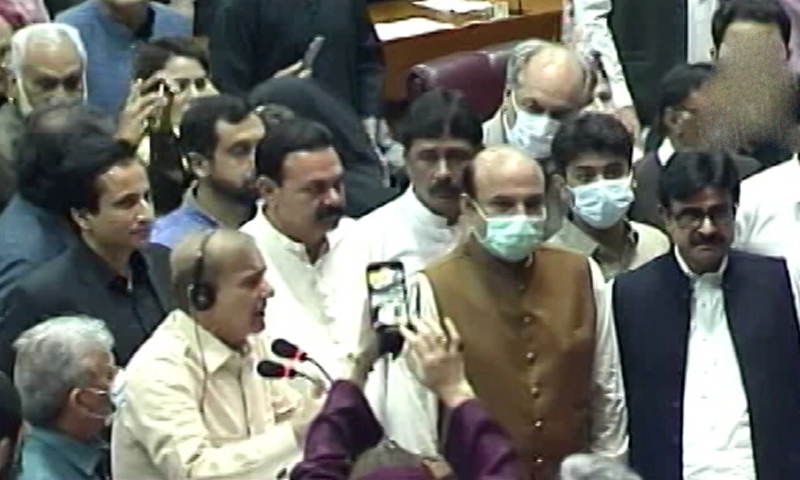 The rumpus began as opposition leader Shehbaz Sharif attempted to speak, for a second day, during the general debate on federal budget 2021-22. — DawnNewsTV