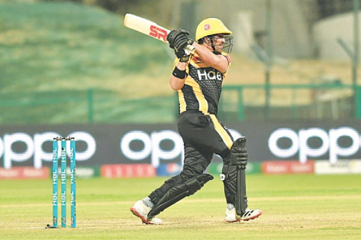 ABU DHABI: Peshawar Zalmi's Hazratullah Zazai goes on the offensive during his whirlwind half-century against Karachi Kings in the HBL Pakistan Super League fixture at the Sheikh Zayed Stadium on Tuesday night.—Courtesy PCB