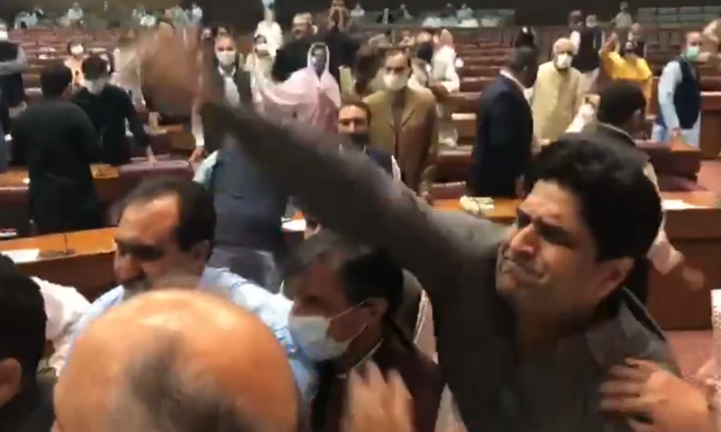 Members from the treasury threw budget books at each other during the NA session on Tuesday. — DawnNewsTV