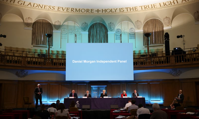 Panel members Michael Kellett, Rodney Morgan, Baroness Nuala O'Loan, Silvia Casale and Samuel Pollock prepare to read out a statement following the publication of the Daniel Morgan Independent Panel report, at Church House, in London. — Reuters
