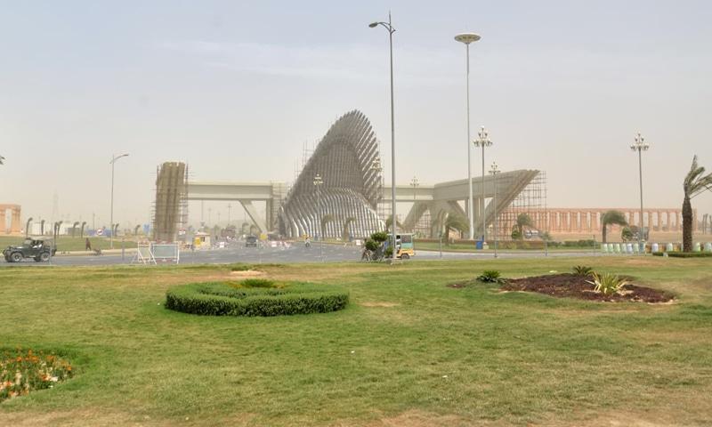 Bahria Town Karachi's imposing main gateway. ─ White Star/File