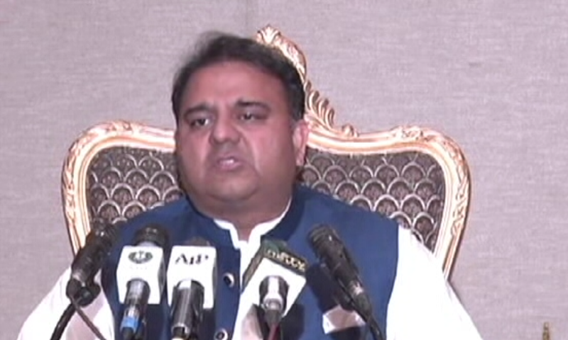 Information Minister Fawad Chaudhry addresses a post-cabinet meeting press conference. — DawnNewsTV