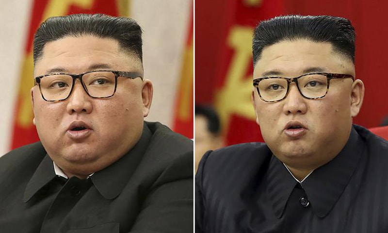 This combination of file photos provided by the North Korean government, shows North Korean leader Kim Jong Un at Workers' Party meetings in Pyongyang, North Korea, on February 8, 2021 (L) and on June 15, 2021 (R). — AP