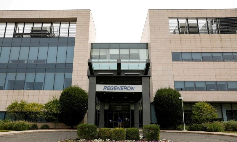 The Regeneron Pharmaceuticals company logo is seen on a building at the company's Westchester campus in Tarrytown, New York, US. — Reuters/File