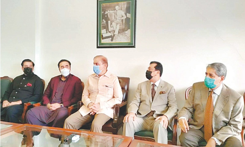 ISLAMABAD: PML-N president Shehbaz Sharif and PPP chairperson Bilawal Bhutto-Zardari along with party leaders hold a meeting at the opposition leader's chamber on Wednesday.—White Star