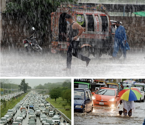 (Clockwise) A man runs for cover on Haider Road in Rawalpindi during rain, a woman and her child wade through rainwater on Murree Road while traffic moves at a snail's pace on Islamabad Expressway on Wednesday. — Photos by Mohammad Asim