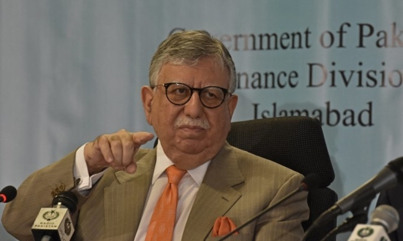 Finance Minister Shaukat Tarin gestures during a pre-budget press conference in Islamabad on June 10. — AFP