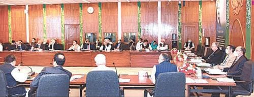 ISLAMABAD: Finance Minister Shaukat Tarin is presiding over the meeting of the Economic Coordination Committee (ECC) of the Cabinet on Wednesday.—APP