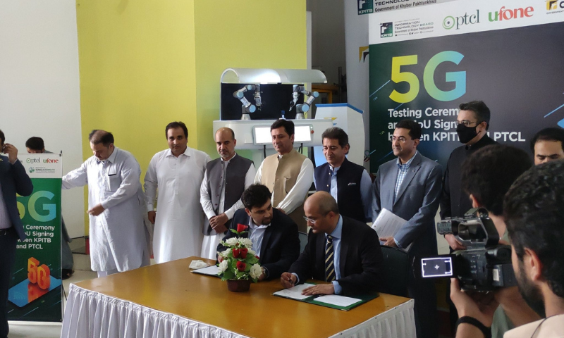 Officials of the Khyber Pakhtunkhwa Information Technology Board (KPITB) and the Pakistan Telecommunication Company Ltd (PTCL) sign a memorandum of understanding (MoU) to conduct 5G trials in Peshawar. — Photo courtesy KPITB Twitter