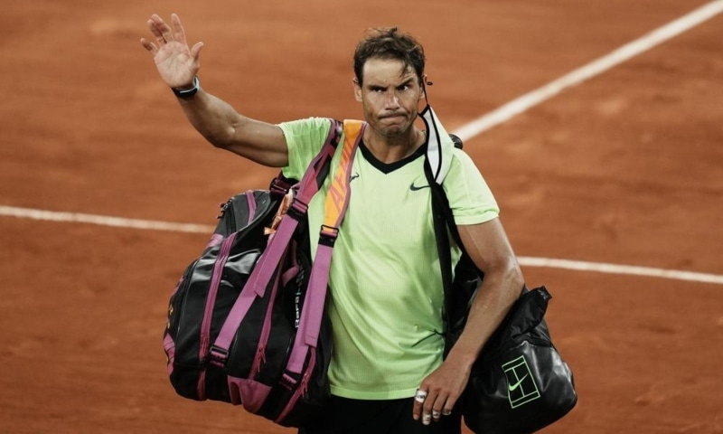 Spain's Rafael Nadal waves to the crowd after losing to Serbia's Novak Djokovic in their semifinal match of the French Open tennis tournament at the Roland Garros stadium, Paris, France, June 11. — AP