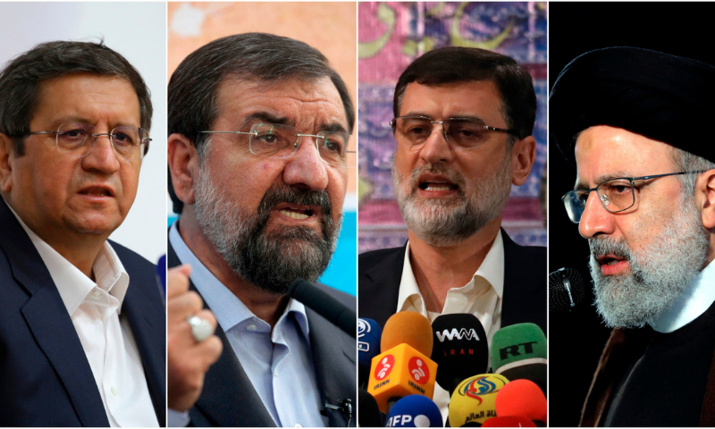 This combination of four photos shows candidates for the June 18 Iranian presidential elections from left to right; Abdolnasser Hemmati, Mohsen Rezaei, Amir Hossein Ghazizadeh Hashemi and Ebrahim Raisi. — AP