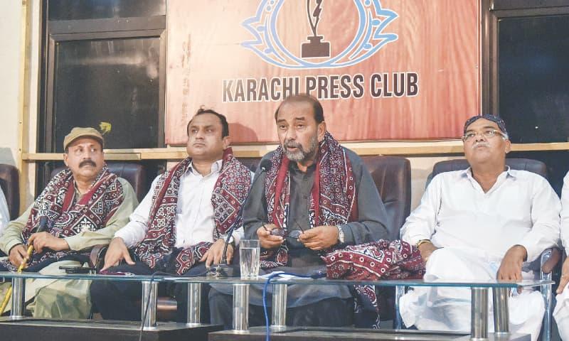 JALAL Mehmood Shah speaks at the KPC on Thursday.—White Star