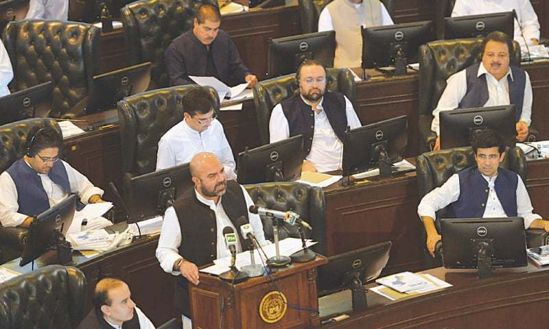 In this file photo, Finance Minister Taimur Saleem Jhagra presents the budget for FY 2019-20. —Shahbaz Butt / White Star