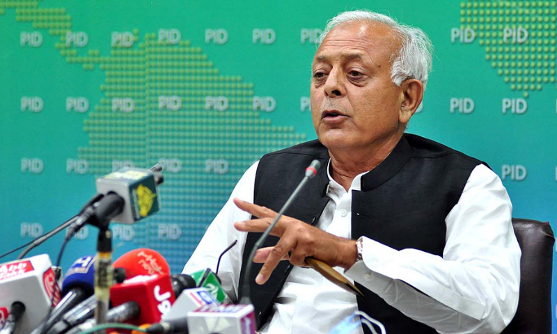 In this file photo, Aviation Minister Ghulam Sarwar Khan addresses a press conference in Islamabad. — APP/File