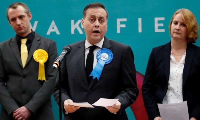 Conservative Party candidate Imran Ahmad Khan speaks after he is announced as the winner for the constituency of Wakefield at a counting centre for Britain's general election in Wakefield, Britain, December 13, 2019. — Reuters/File