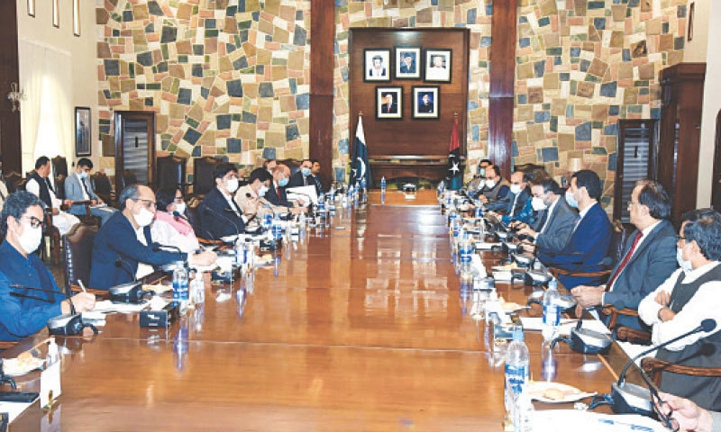 THE Sindh government and World Bank teams meet at CM House on Friday.—PPI