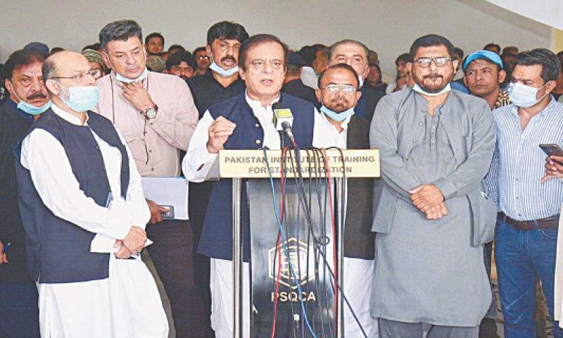 MINISTER Shibli Faraz speaks at the PSQCA office on Friday.—APP