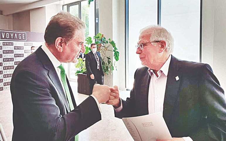 ANTALYA: Foreign Minister Shah Mahmood Qureshi greets EU High Representative for Foreign Affairs and Security Policy Josep Borrell prior to their meeting on Friday. — APP