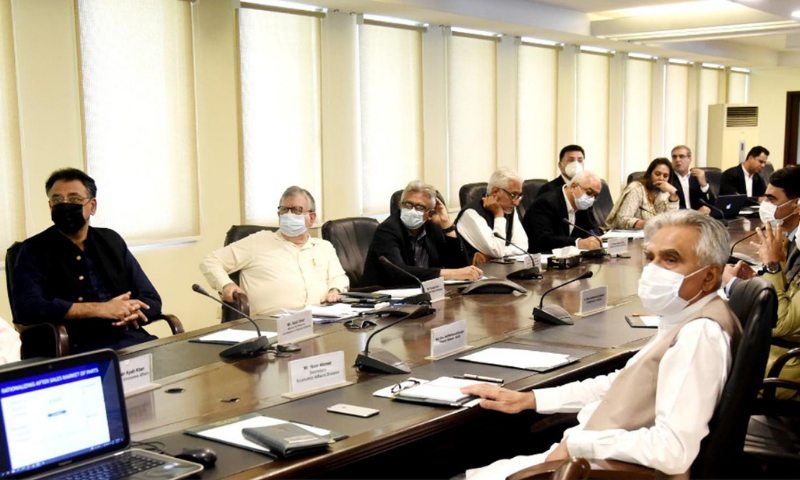 Finance Minister Shaukat Tarin chairs a special meeting in Islamabad on Friday to review the Covid-19 vaccine availability situation in the country. — PID