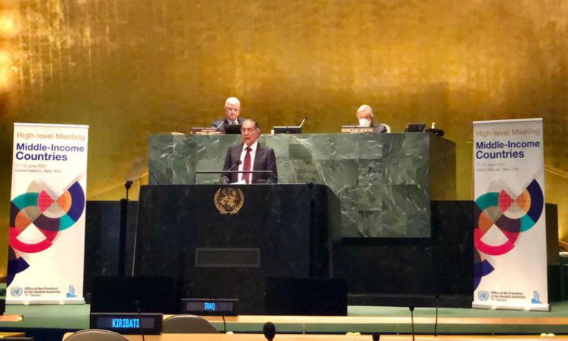 Pakistan's Permanent Representative to the UN Ambassador Munir Akram speaks at the world body's High Level Meeting on Middle-Income Countries on Friday. — Photo courtesy Twitter