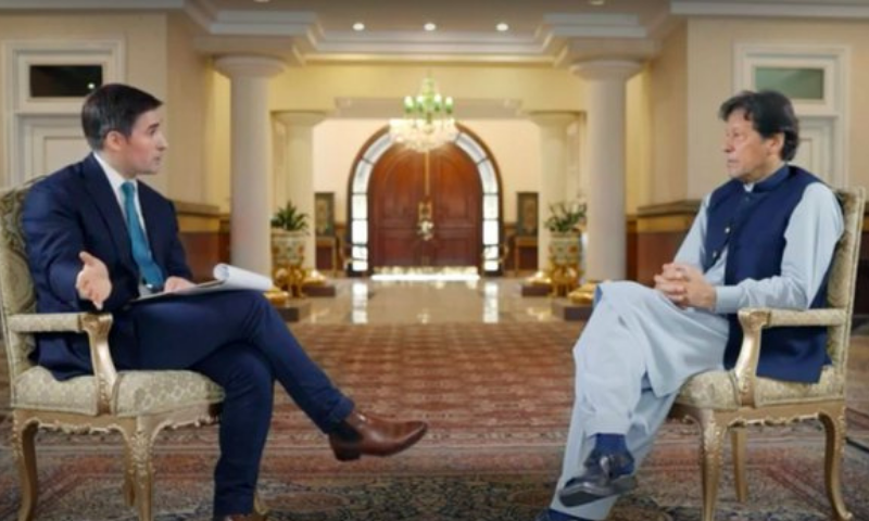 A still taken from the promo of Prime Minister Imran Khan's interview to Axios which will be aired on Sunday. — Axios via APP