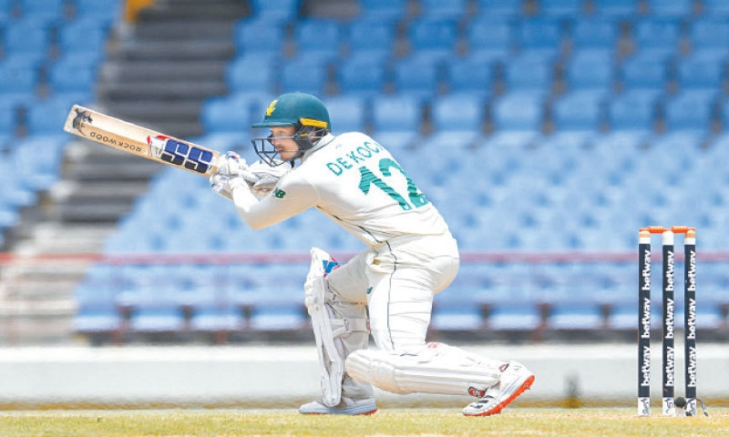 QUINTON de Kock of South Africa plays a stroke during the second Test against West Indies on Saturday.— AFP