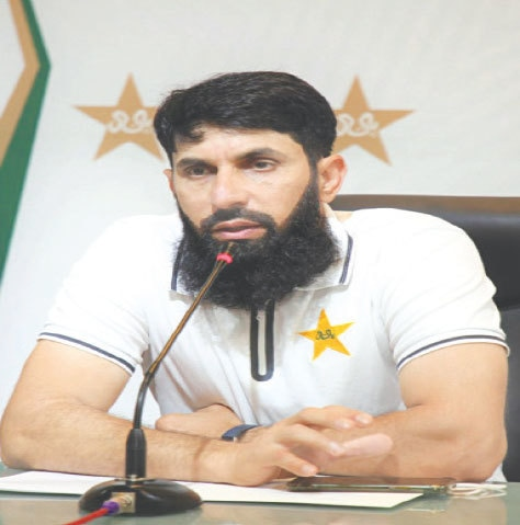 LAHORE: Pakistan head coach Misbah-ul-Haq attends a news conference on Saturday.—White Star