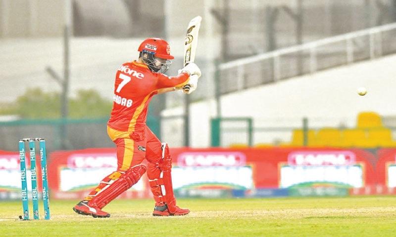 ABU DHABI: Islamabad United captain Shadab Khan plays a shot against Multan Sultans during their HBL Pakistan Super League encounter at the Sheikh Zayed Cricket Stadium on Saturday night. —Courtesy PCB