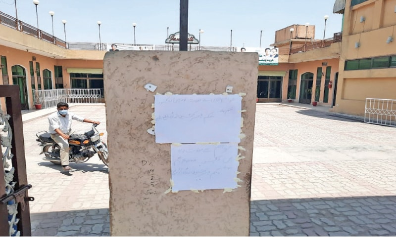 A notice has been pasted outside the Jan Marriage Hall vaccination centre, informing people that it would remain closed till Monday. — White Star