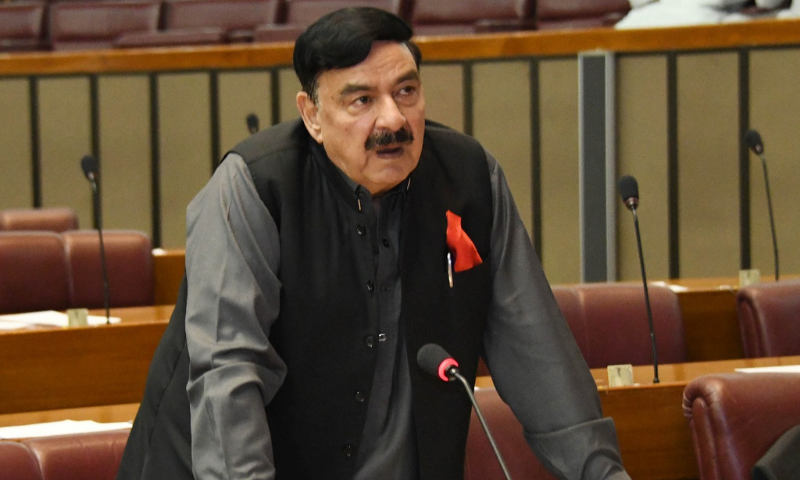 Interior Minister Sheikh Rashid Ahmed speaks in the National Assembly on Saturday. — Photo courtesy NA of Pakistan Twitter
