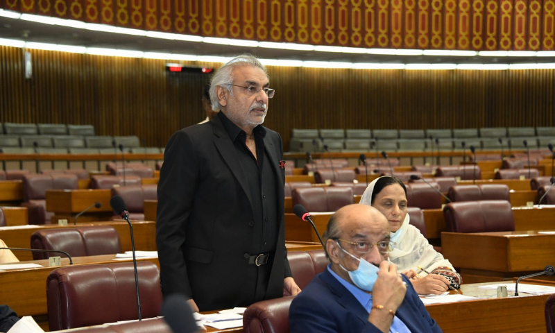 The most hard-hitting speech was delivered by the ruling PTI member from Rajanpur, Riaz Mazari, against his own party's federal government and provincial government in Punjab. — Photo courtesy NA of Pakistan Twitter