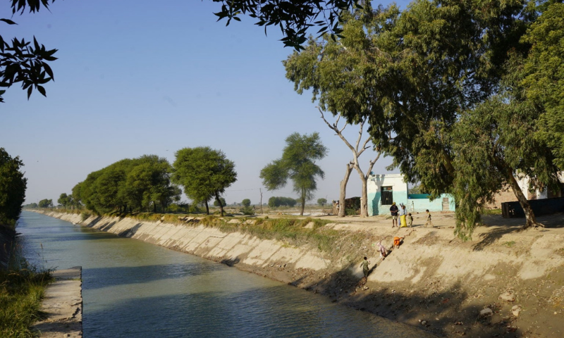 A view of Akram wah canal which supplies irrigation water to Hyderabad, Tando Muhammad Khan and Badin tail areas. — Photo by Manoj Genani/File