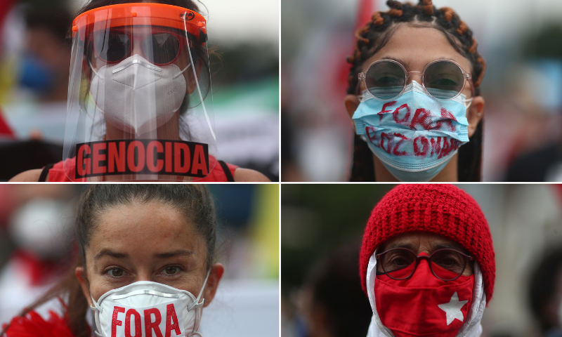 Image combo shows demonstrators wearing protective masks during a protest against Brazil's President Jair Bolsonaro's handling of the coronavirus pandemic and to impeach him, in Rio de Janeiro, Brazil on Saturday. — Reuters