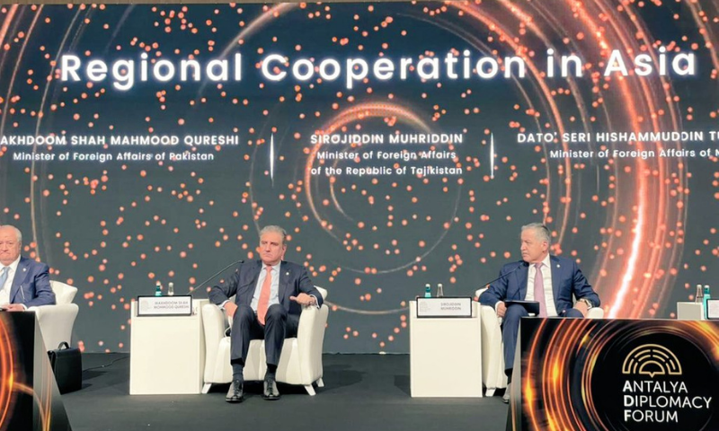 Foreign Minister Shah Mahmood Qureshi was participating in a high-level panel discussion on regional cooperation in Asia along with foreign ministers of Kyrgyzstan, Malaysia, Tajikistan and Uzbekistan under the Antalya Diplomacy Forum of Turkey. — Photo courtesy Twitter