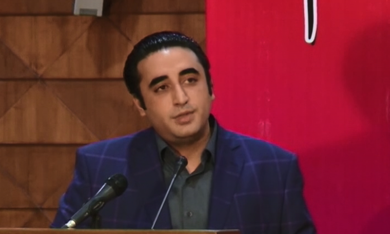 PPP Chairperson Bilawal Bhutto-Zardari addresses an event held at the Sindh Assembly on Tuesday to mark former prime minister Benazir Bhutto's 68th birth anniversary. — DawnNewsTV