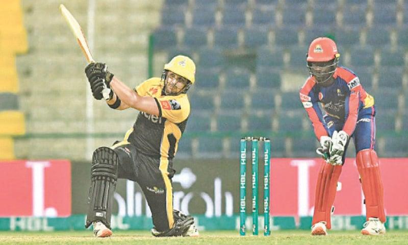 ABU DHABI: Peshawar Zalmi opener Hazratullah Zazai strikes a six during his belligerent innings against Karachi Kings in their Eliminator 1 clash of HBL Pakistan Super League at the Sheikh Zayed Cricket Stadium on Monday night.—Courtesy PCB