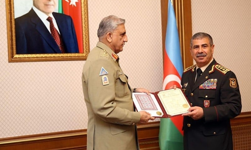 This photo shows Chief of the Army Staff General Qamar Javed Bajwa and Minister for Defence Col Gen Hasanov Zakir Asgar Oglu. — Photo courtesy ISPR
