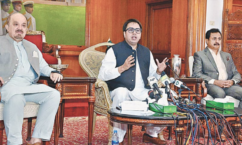 Shahbaz Gill speaks at Governor House on Tuesday.—APP