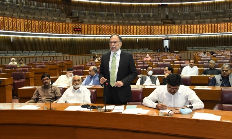 PML-N's Ahsan Iqbal speaks in the National Assembly. — Photo courtesy NA Twitter