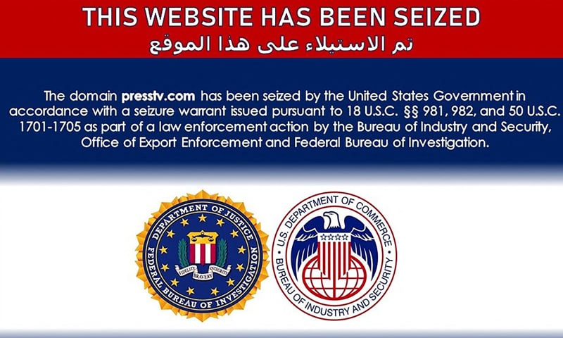 This image taken from the seized website presstv.com announces that the site was seized by US authorities on June 22. — AFP