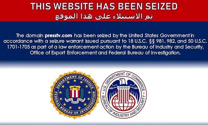 امریکی قبضے کے بعد پریس ٹی وی کی ویب سائٹ پر نظر آنے والا نوٹس—تصویر: اے پی