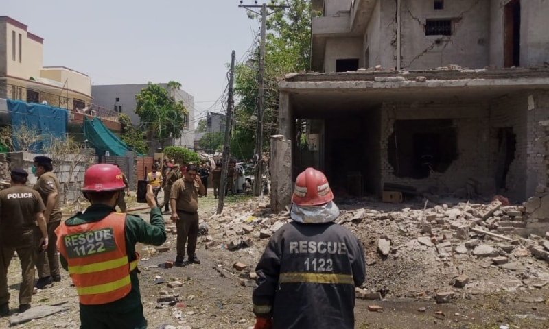 This picture shows the site of the blast in Lahore's Johar Town.— Photo courtesy author